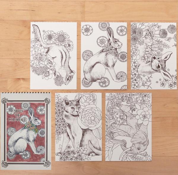 Cartes De Coloriage Post Card Book GCC03 Ikimono