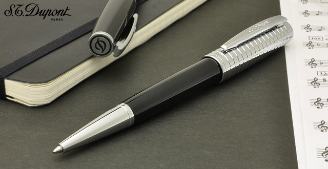 S.T.Dupont Ballpoint pen Saint Michel 440140 Goldsmith Black lacquer/para Chrome