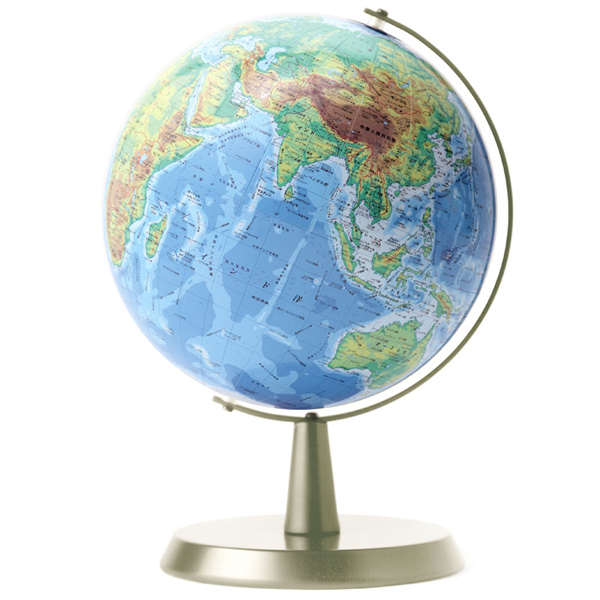 ワタナベ(渡辺教具製作所) 地球儀 卓上地球儀 WB W-2302 地勢 シルバー台【 プレゼント ギフト 】【ペンハウス】 (9500)