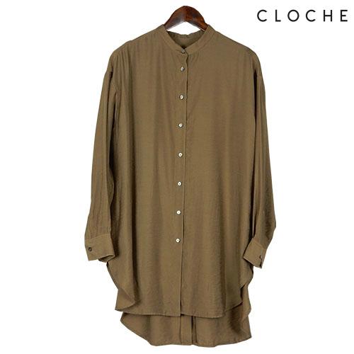 CLOCHE(クロッシェ) スタンドロングシャツ 柔らかい素材 サイドスリット 秋らしいカラー ブラウンコーデ スタンドカラー バンドカラー ロングシャツ