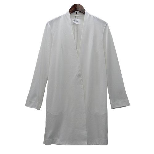 CLOCHE(クロッシェ)ノーカラージャケット シンプルジャケット ロングジャケット 白ジャケット 羽織 ノーカラー 裏なし レディスファッション