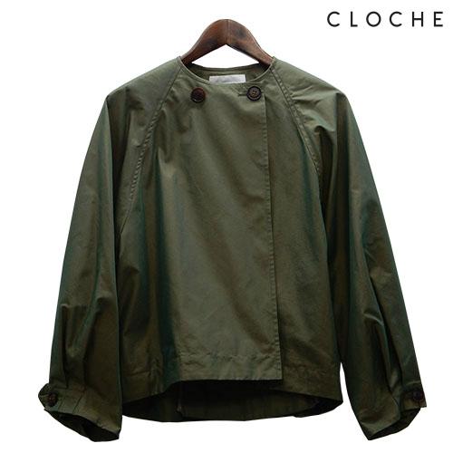 送料無料 CLOCHE(クロッシェ) ノーカラーショート丈コート ハリのある素材 お袖ワイド お袖2段階ボタン ショート丈コート ノーカラー 後タック