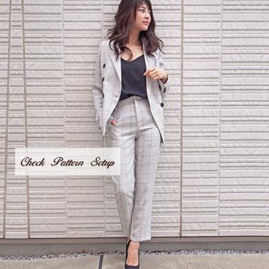 【送料無料】チェック セットアップ スーツ オフィスカジュアル パンツスーツ ホワイト 2ピース 【送料無料】チェック 柄 セットアップ スーツ レディース オフィスカジュアル ダブル パンツ 2ピース かっこいい 大人女子 スタイリッシュ パンツスーツ ビジネススーツ