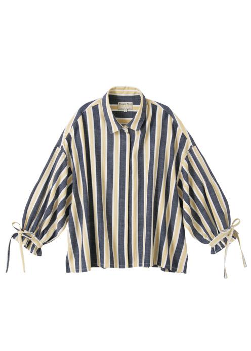 手織りヘリンボーンギャザースリーブブラウス【フェアトレード】【ピープルツリー公式】【PeopleTree】