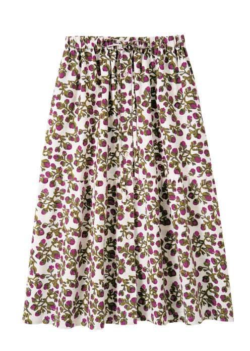 フラワープリントコットンスラブAラインスカート【フェアトレード】【ピープルツリー公式】【PeopleTree】