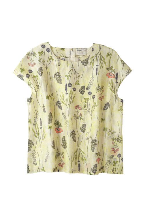 手織りシルクフレンチスリーブシャツ【フェアトレード】【ピープルツリー公式】【PeopleTree】
