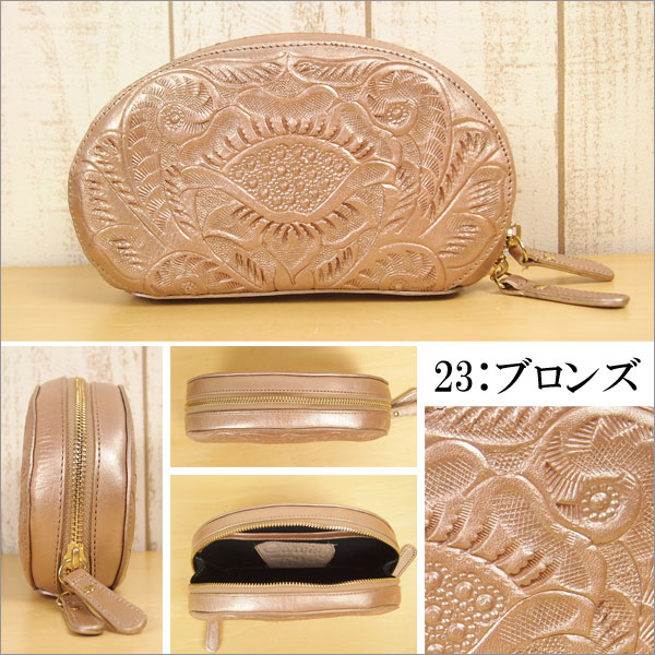 Carving tribes Carving Tribes Double Zip double zip pouch 46389523 grace continental GRACE CONTINENTAL carving drives carving leather leather type press wristlet cosmetic pouch