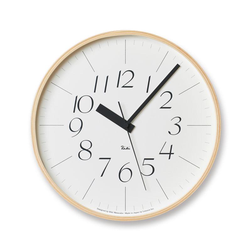【クーポン800円あり】リキクロック / Lサイズ / 電波時計 / 細文字タイプ / Lemnos レムノス 渡辺力 壁掛け時計 Riki シンプル 木製 ナチュラル