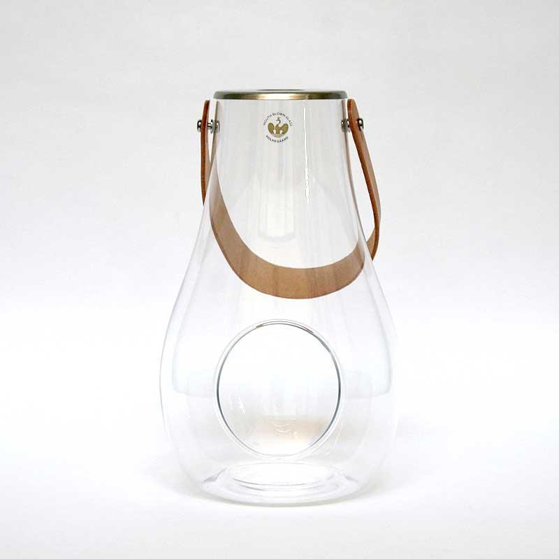 DESIGN WITH LIGHT LANTERN / H25cm / HOLMEGAARDD ホルムガード / 皮革ストラップつきランタン クリア / デザイン ウィズ ライト / ガラス オブジェ キャンドルホルダー ボトル 器 置物 北欧