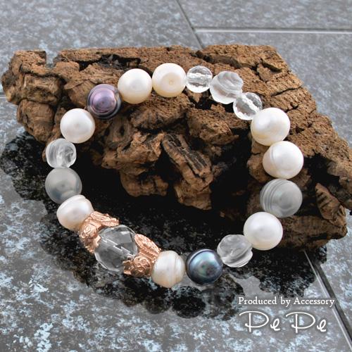 シルバー925 ピンクゴールドコーティング 水晶×淡水パール ブレスレット(マリア像)(DaDa)[6764706202]
