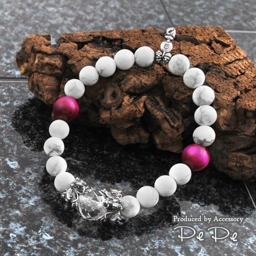 シルバー925 水晶×マグネサイト×ピンクタイガーアイ ブレスレット(龍/ドラゴン)(DaDa)[6764760107]