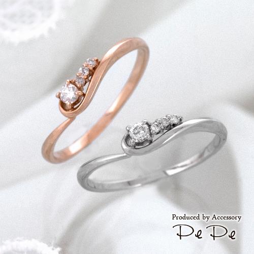 K10(ピンクゴールド・ホワイトゴールド) ダイヤモンド合計0.07ct リング[3111440110]