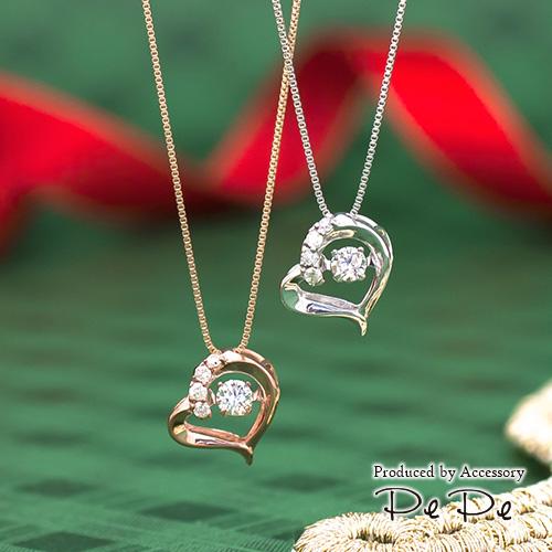 K10(ピンクゴールド・ホワイトゴールド) ダイヤモンド合計0.1ct ペンダントネックレス(ハート)[5721440106-5721240105]