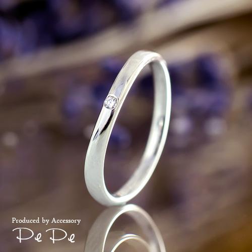 【幸せを呼ぶ小指の魔法…ピンキーリング♪】プラチナ900 ダイヤモンド0.01ct(0~6号)[8612140101]