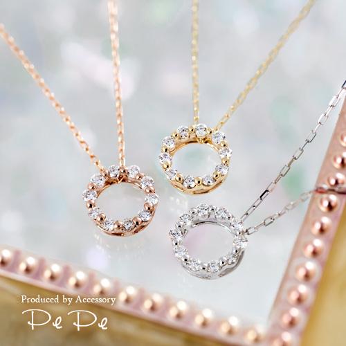 K10(イエローゴールド・ピンクゴールド・ホワイトゴールド) ダイヤモンド合計0.1ct サークルネックレス[8621340219-8621440204-8621240219], キクマチョウ:f96c70b0 --- reisotel.com