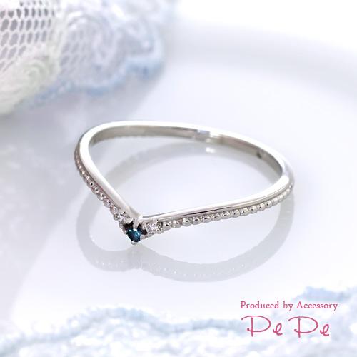 K10ホワイトゴールド ブルーダイヤモンド×ダイヤモンド合計0.02ct リング[9411245101]