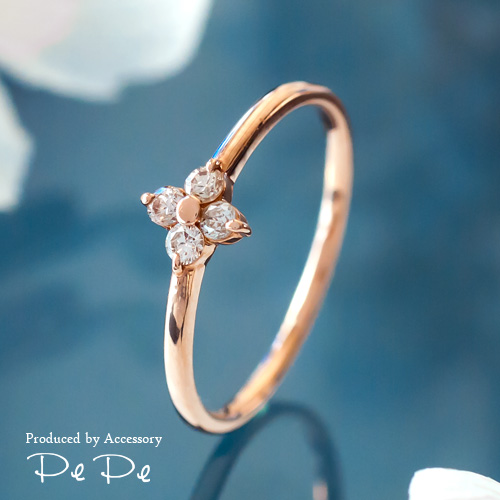 K10ピンクゴールド ダイヤモンド合計0.13ct リング(フラワー)[0611440202]