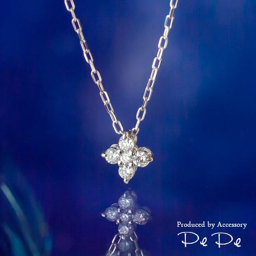 【ライトを当てると蛍光ブルーに…♪】K10ホワイトゴールド アースブルーダイヤモンド合計0.10ct ネックレス(フラワー)[3121240210]