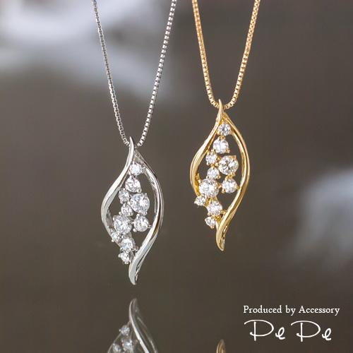 K18イエローゴールド・プラチナ ダイヤモンド合計0.3ct ネックレス(リーフ)[5921340203-5921140212]