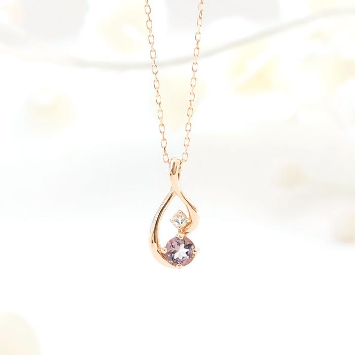 K10ピンクゴールド ピンクアメジスト×ホワイトトパーズ(2月誕生石/11月誕生石) ネックレス[6321402001]