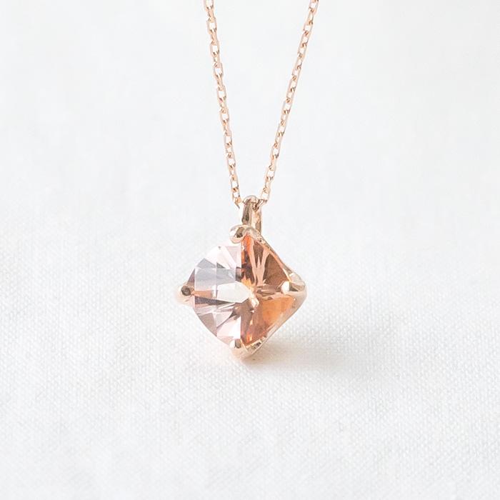 K10ピンクゴールド ピーチトパーズ ネックレス(11月誕生石)(四角/スクエア)[6321411401]