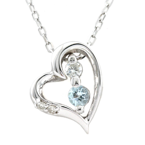 Pepe rakuten global market total k10 white gold 004ct diamond total k10 white gold 004ct diamond x aquamarine pendant necklace heart 3way mozeypictures Images