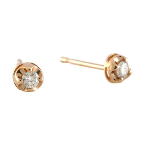 【シンプルな定番スタッドピアス♪】K18ピンクゴールド 一粒ダイヤモンド合計0.1ct[6251440102]
