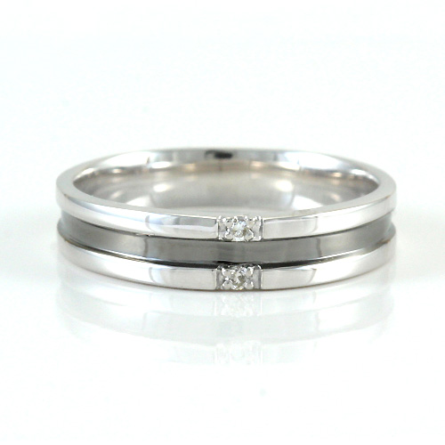 【ペアリング】K10ホワイトゴールド ルテニウムコーティング 0.02ctダイヤモンド ペアリング(メンズ)【LINK】