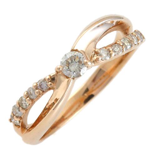 K10ピンクゴールド 合計0.22ctダイヤモンド リング[DRG0611440102]