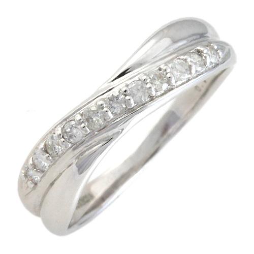 K10ホワイトゴールド ダイヤモンド合計0.15ct クロスラインリング(7号~17号)[3111240204]