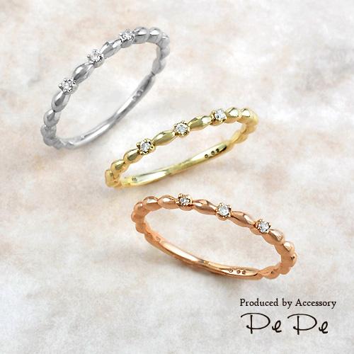 K10ホワイトゴールド 合計0.02ctダイヤモンド リング[6311240201]