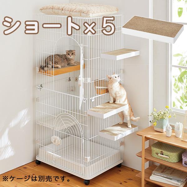 ケージ用ステップ ショート・5個 ※ケージは別売りです。 猫 ケージ用ステップ 階段 取付簡単 ダンボール製 爪とぎ PEPPY ペピイ
