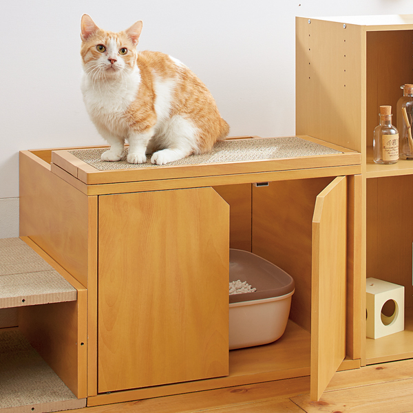 キャットレストルーム トップ 幅60×奥行52×高さ45cm 猫 トイレ トイレカバー爪とぎ ダンボール 家具 ペピイ
