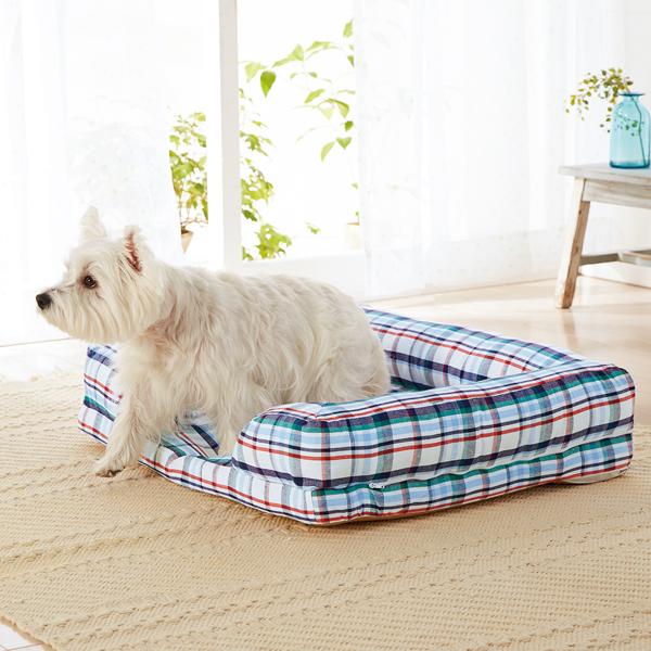 さわやかマリンスクエアソファー M 幅95×奥行75×高さ15cm マルチ チェック カラフル ベッド 犬 猫 綿 コットン ペピイオリジナル 春夏