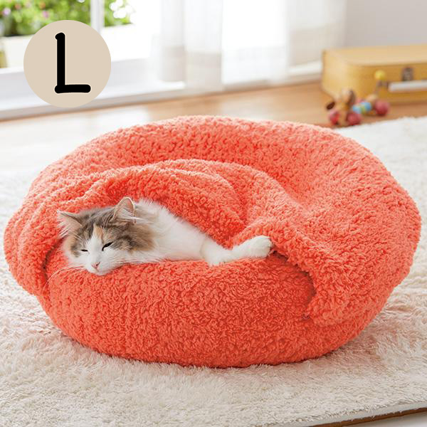 セール 抗菌防臭ふんわりブランケット付ベッド L 犬 猫 ベッド 秋冬 ふわふわ あったか ピンク かわいい ふみふみ もふもふ ペット ペピイ PEPPY