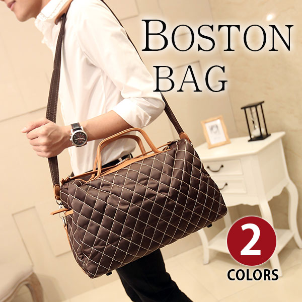 Perfectbag ボストンバッグ 超大容量 防水ナイロン チェックステッチ 2way 手提げ 肩掛け ショルダーバッグ 旅行出張鞄 4日3泊 自立ち可 4タイプ選