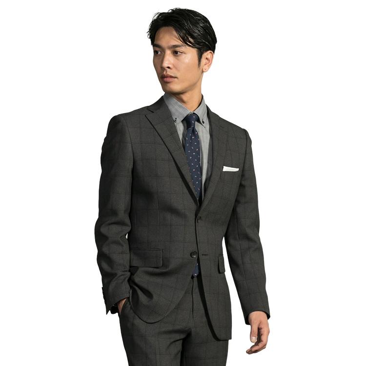【ネット限定】スーツ メンズ ストレッチスーツ 2ツボタン 伸びる 洗える しわに強い ビジネス チェック 軽量 グレー ノータック 春夏 ( PSFA公式)パーフェクトスーツファクトリー【送料無料】