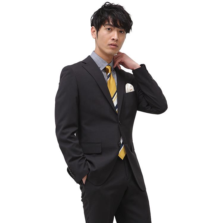 【ネット限定】スーツ メンズ ストレッチスーツ 2ツボタン 伸びる 洗える しわに強い ビジネス チェック 軽量 ブラック ノータック 春夏 ( PSFA公式) パーフェクトスーツファクトリー【送料無料】