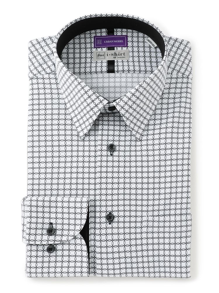 大人気の完全ノーアイロンシャツ アイロンいらずでストレッチ性も高いためテレワークにも最適 ワイシャツ 長袖 完全ノーアイロン 長袖アイシャツ ブラック プリント ショートレギュラー 公式通販 5☆大好評
