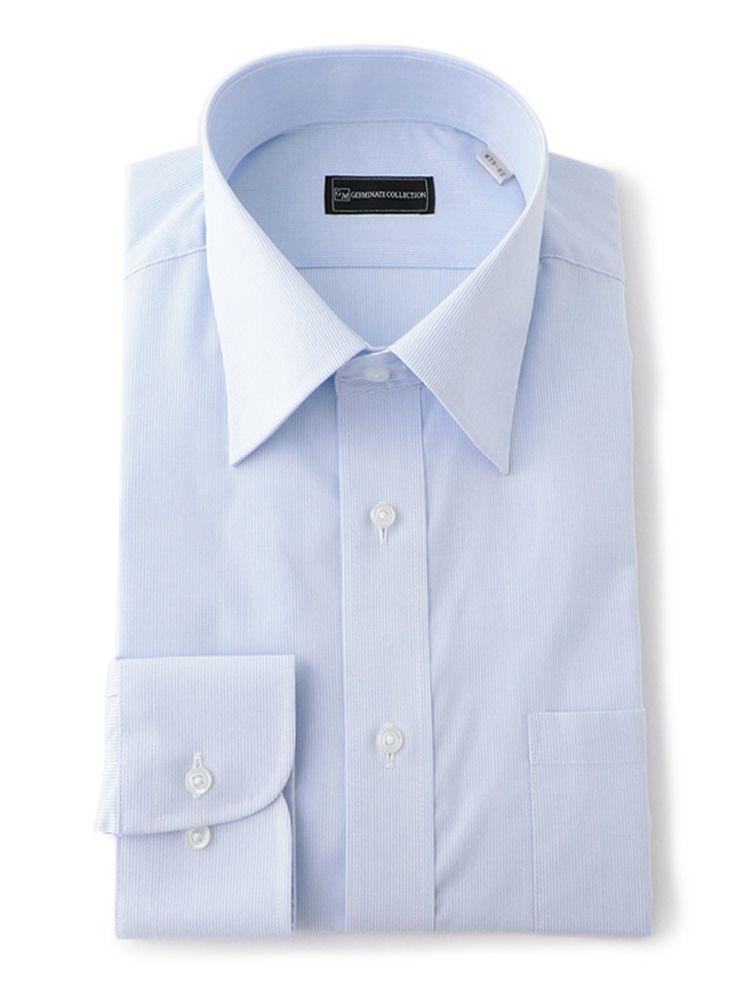 安い 激安 プチプラ 高品質 形態安定 長袖ワイシャツ 当店一番人気 セミワイド サックス