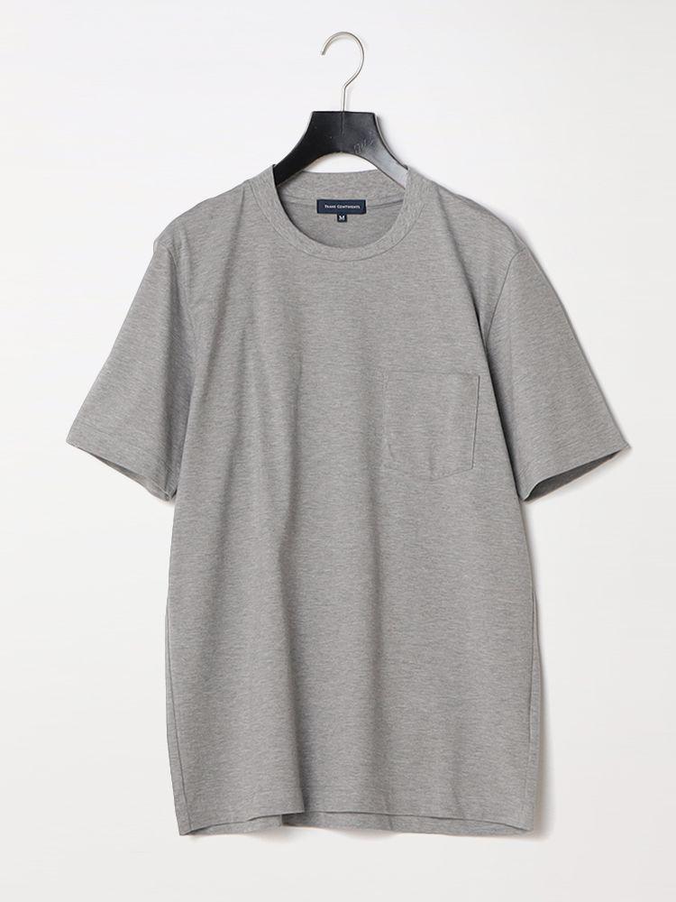 メンズカジュアルインナー 半袖カットソー 上着の襟裏が汚れにくい TRANS 割り引き CONTINENTS ベージュ LOTUSスピン綿Tシャツ [正規販売店] ホワイト ブラック グレー