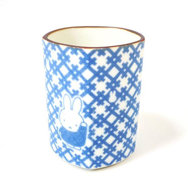 上品で大人っぽい miffy ミッフィー 超激得SALE ミッフィー和小紋 五画湯呑 井桁模様 日本製 入手困難 ブルー グッズ 食器 コップ