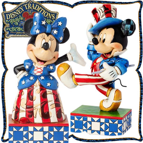 ディズニー 木彫り調フィギュア ミッキーマウス ミニーマウス 「アメリカンスピリット」 2点セット ディズニー・トラディション