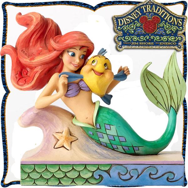 ディズニー プリンセス 木彫り調フィギュア アリエル (リトルマーメイド) 「Ariel with Flounder」 フランダーと一緒 ディズニー・トラディション