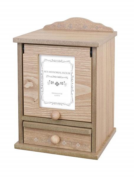 ペットメモリアルボックス (ペット仏壇/フォトフレーム付きBOX) 白木 ピンク仏具セット ペットメモリアルハウスプチ Pet Memorial House Petite sale 入園入学