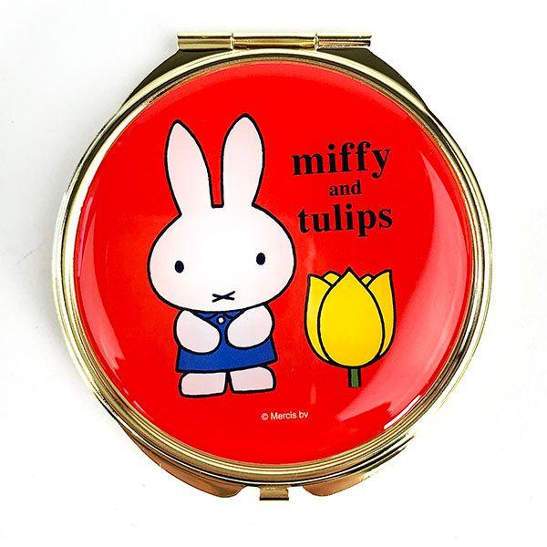 かわいいデザイン☆ ミッフィー チューリップ miffy and tulips ミラー グッズ コンパクトミラー レッド MCOR 手鏡 RD アウトレット 物品