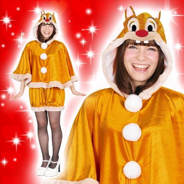 ディズニー コスチューム 大人 ディズニー コスチューム 大人 女性用 デール チップ&デール フードケープとパンツのセット 仮装