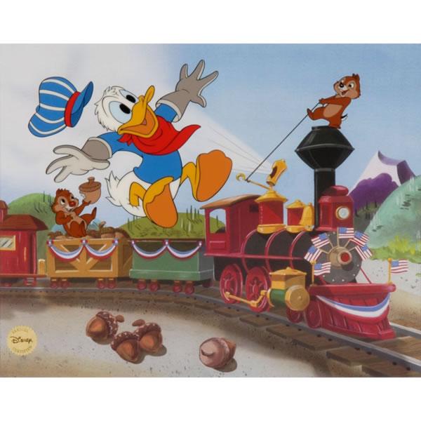 セル画 ドナルドダックチップ&デール 「TrainGang 」シルクスクリーン 世界限定数 500 取寄品3週間前後 sale 入園入学