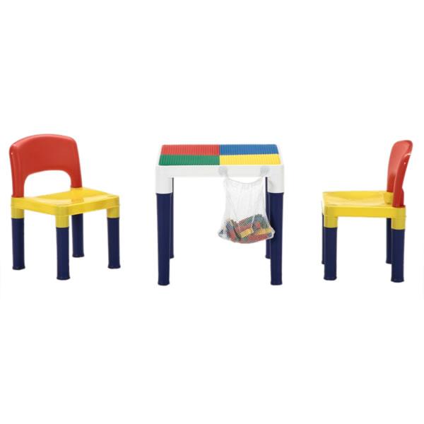 テーブル&チェアーセット 角テーブル・イス  100pcsブロック付 カラフルシリーズ ベビー用品 取寄品 3週間前後