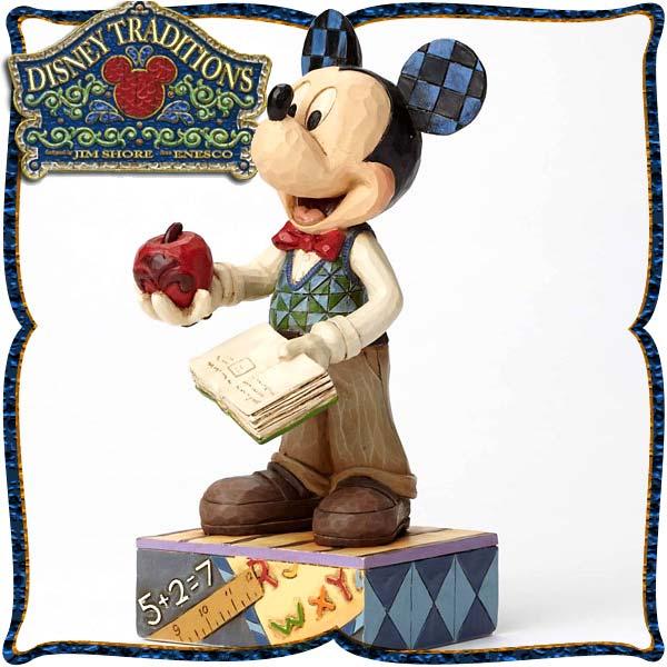 ディズニー 木彫り調フィギュア ミッキーマウス 「Teacher Mickey」 教師のミッキー ディズニー・トラディション